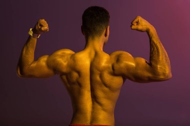 back view of athletic man with muscular torso demonstrating biceps on purple background