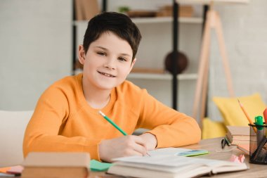 cute boy smiling at camera while sitting at desk and doing schoolwork at home