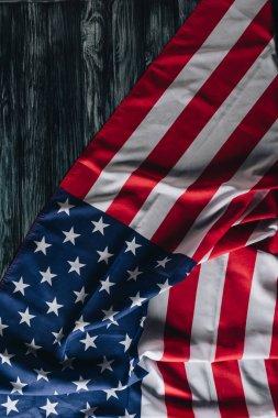 Usa national flag on grey wooden surface, memorial day concept stock vector