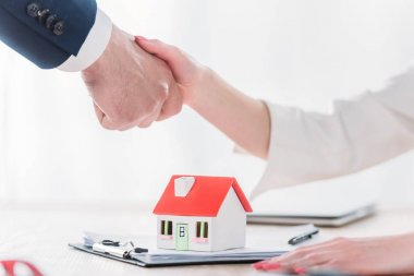 Cropped shot of realtor shaking hands with client near house model on tabletop stock vector