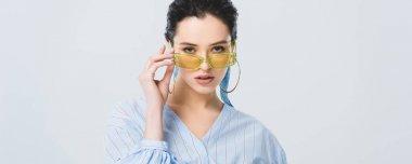 Panoramic shot of beautiful stylish girl in sunglasses posing isolated on grey stock vector