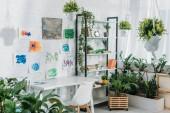 camera spaziosa con cremagliera, tavolo, sedia, piante verdi in vaso e dipinti su parete bianca