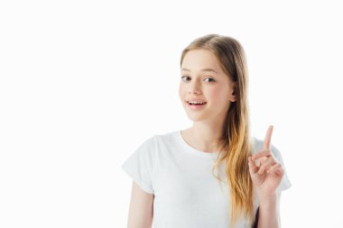happy teenage girl showing idea gesture and looking at camera isolated on white