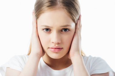 Offended teenage girl covering ears with hands isolated on white stock vector