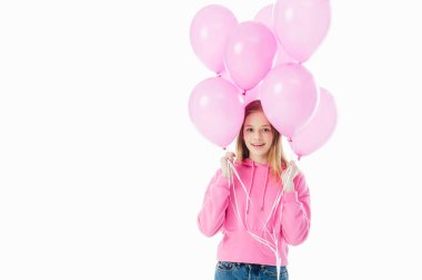 Happy teenage girl holding pink balloons isolated on white stock vector