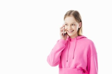 Happy teenage girl in pink hoodie talking on smartphone isolated on white stock vector