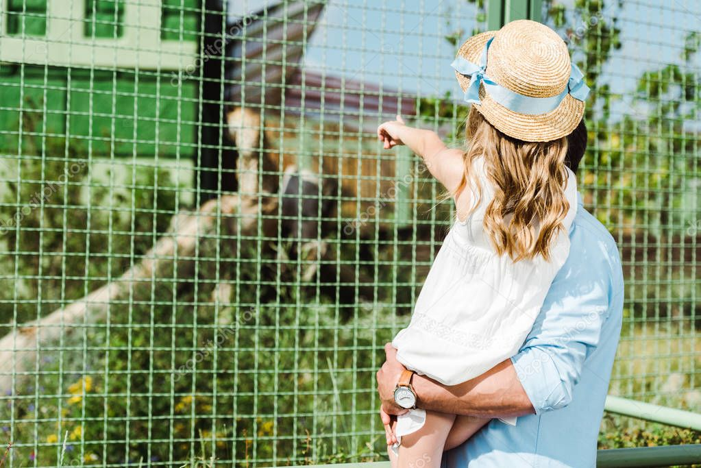 cropped view of father holding in arms daughter pointing with finger at cage with monkey