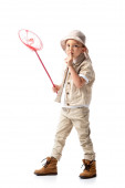 full length view of explorer kid in hat holding butterfly and showing hush sign net isolated on white