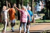 selective focus of senior women gesturing near multicultural retired men