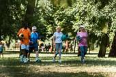 selektivní zaměření šťastných starších a multikulturních důchodců, kteří mají fitness rohože a procházky po trávě