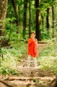 vista a figura intera del piccolo ragazzo in costume da supereroe in piedi nella foresta