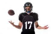 Fényképek Amerikai futball játékos dobott labdát izolált fehér