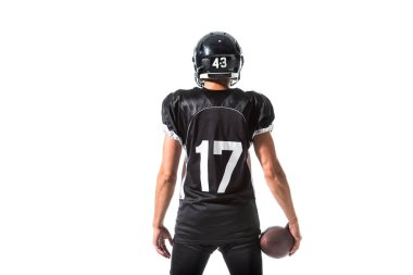back view of American Football player with ball Isolated On White