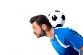 bearded soccer player training with ball Isolated On White with copy space