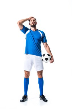 Disappointed soccer player with ball and hand on head Isolated On White stock vector
