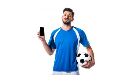 Soccer player with ball and smartphone with blank screen Isolated On White stock vector