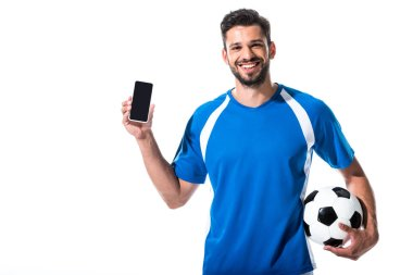 Happy soccer player with ball and smartphone with blank screen Isolated On White stock vector
