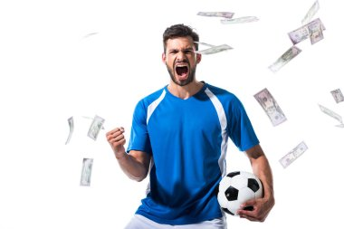 Soccer player with ball cheering with clenched hand near falling money Isolated On White stock vector