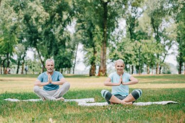 mature man and woman sitting in lotus poses with folded hands on lawn in park