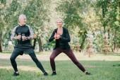 Fotografie reife Sportlerin und Sportlerin beim Training mit Hanteln im Park