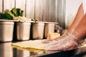 oříznutý pohled na kuchaře v rukavicích Příprava kebabu kebab