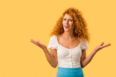 Confused redhead woman with shrug gesture, isolated on yellow stock vector