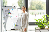Fotografie confident businesswoman in formal wear standing near flipchart with infographic in office
