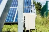 selektivní zaměření modrých solárních energetických baterií a zelené trávy
