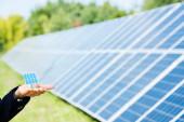 abgeschnittene Ansicht der Frau, die Solarbatterie-Modell draußen hält