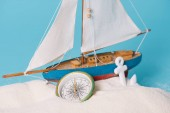 Photo close up view of decorative ship near anchor and compass in white sand isolated on blue