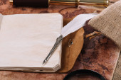 open copy book with blank pages in leather cover and nib on old world map