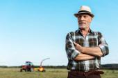 barbuto agricoltore anziano in piedi con le braccia incrociate nel campo
