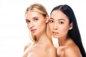 krásná Evropská blondýna a Asijská bruneta nahá žena izolovaná na bílém