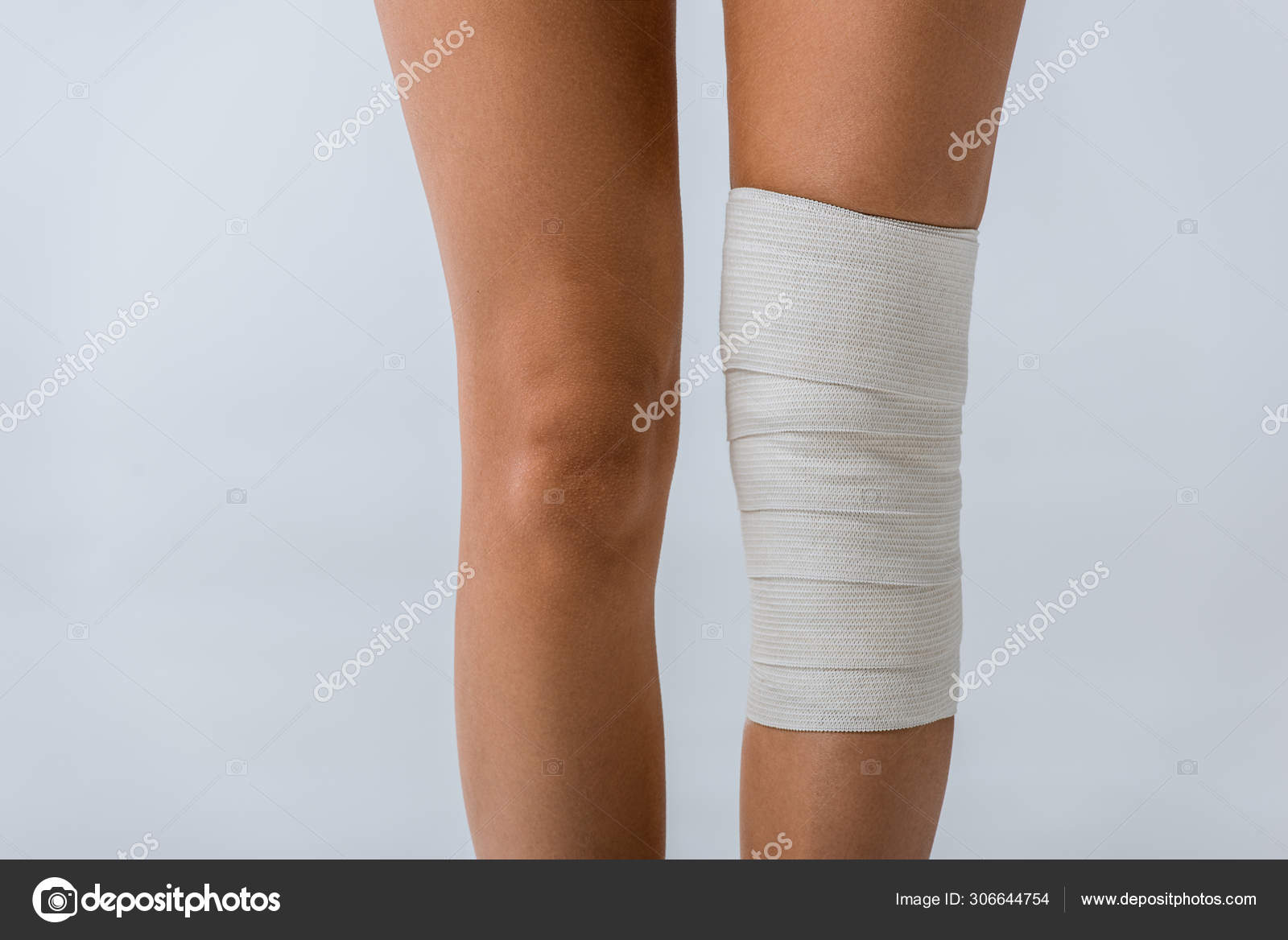 Partial View Woman Elastic Bandage Knee Isolated Grey Stock