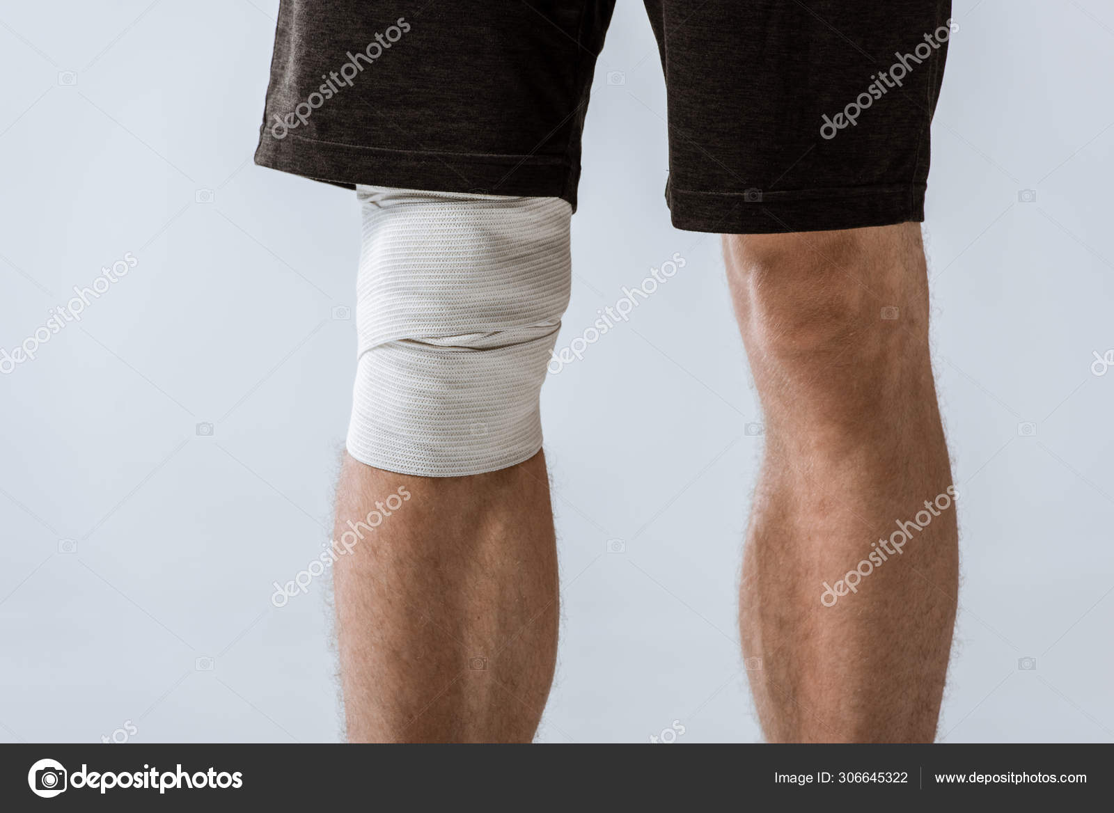 Cropped View Sportsman Elastic Bandage Knee Isolated Grey Stock