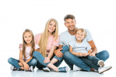 cheerful kids sitting with happy parents on white