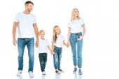 happy parents holding hands with cheerful kids on white