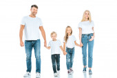 Fotografie smiling parents holding hands with cheerful kids on white