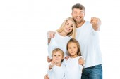 positive family in white t-shirts pointing with fingers isolated on white