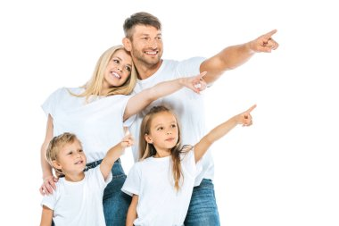 cheerful family pointing with fingers isolated on white