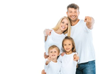 Positive family in white t-shirts pointing with fingers isolated on white stock vector