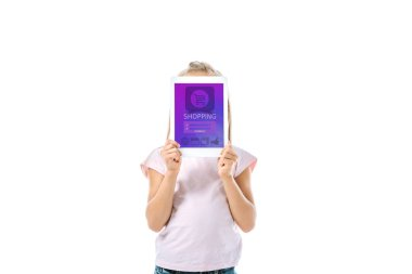 Kid covering face while holding digital tablet with shopping app on screen isolated on white stock vector