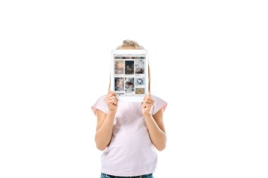 KYIV, UKRAINE - AUGUST 19, 2019: kid covering face while holding digital tablet with pinterest app on screen isolated on white stock vector
