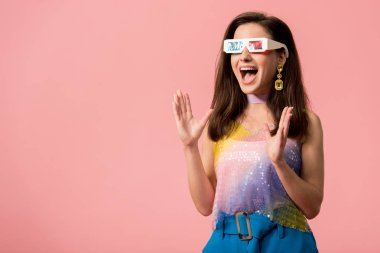 Excited young stylish disco girl in 3d glasses isolated on pink stock vector