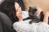 Fényképek gyönyörű nő fekvő kanapén skót fold macska