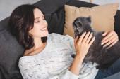 šťastná žena ležící na pohovce se skotskou složit kočka v útulném obývacím pokoji