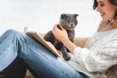 Fotografie šťastná dívka čtení knihy na pohovce se skotskou složit kočka