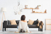 Photo back view of woman sitting on floor with grey cat in living room with dream catchers