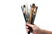 cropped view of woman holding paintbrushes isolated on white