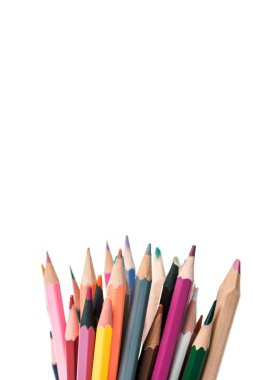 Multicolored pencils isolated on white with copy space stock vector